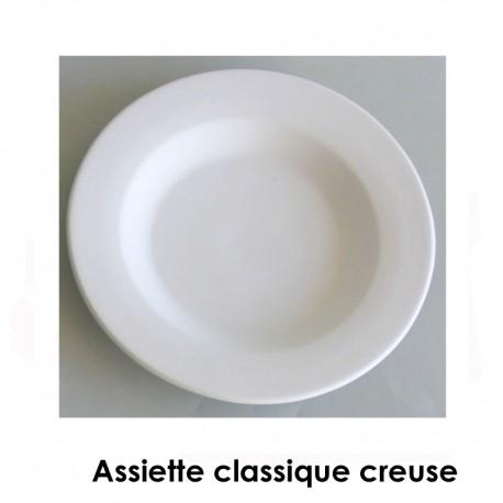 BISCUIT FAIENCE ASSIETTE CLASSIQUE CREUSE DIAM 250 MM