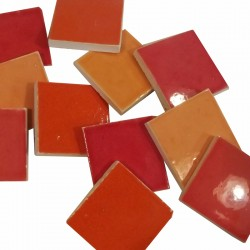 MOSAIQUE EMAILLEE 30*30 PANACHE ORANGE/ROUGE