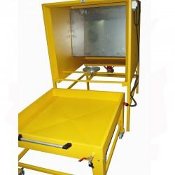 Cabine d'émaillage à rideau d'eau avec fond mobile