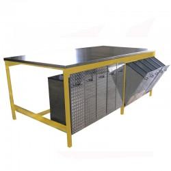 Table de préparation avec plateau et tiroirs inox pour stockage des argiles, émaux, etc...