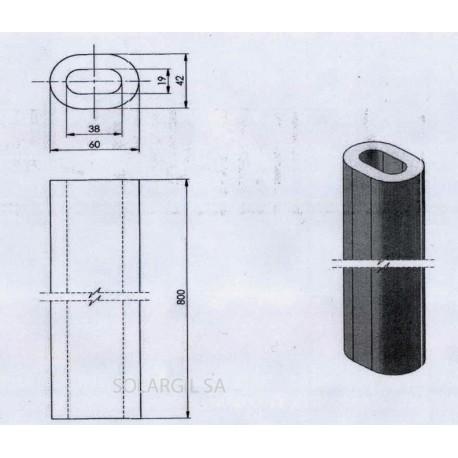 PILIER H 300 mm Diam.60*42 mm OVALE 1350°C